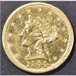 1844 $2.50 GOLD AU/BU