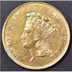 1856-S $3.00 GOLD AU+