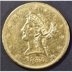 1846 $10 GOLD AU/BU