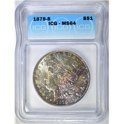 1878-S MORGAN DOLLAR  ICG MS-64