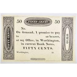 1810-20'S 50 CENT WORTHINGTON, OHIO GEM CU