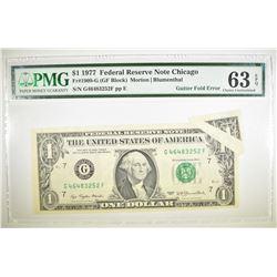 1977 $1 FRN CHICAGO PMG 63 EPQ GUTTER FOLD ERROR