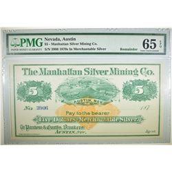 1870s $5 MANHATTAN SILVER MINING CO. PMG 65 EPQ