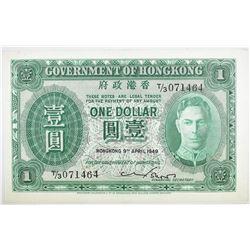 1949 $1 HONG KONG  CHOICE.   SCARCE.