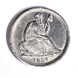 1837 SEATED LIBERTY HALF DIME AU