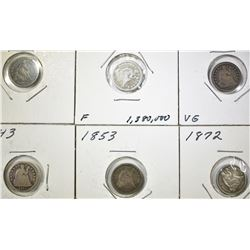 6 SEATED LIBERTY HALF DIMES VG-F