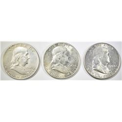 1948-D, 49-D,S FRANKLIN HALF DOLLARS AU