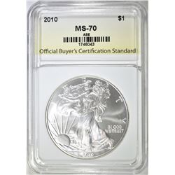 2010 AM. SILVER EAGLE, OBCS PERFECT GEM