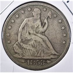 1853 ARROWS/RAYS SEATED HALF DOLLAR, FINE