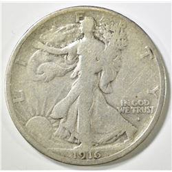 1916-S WALKING LIBERTY HALF DOLLAR, FINE+ KEY COIN