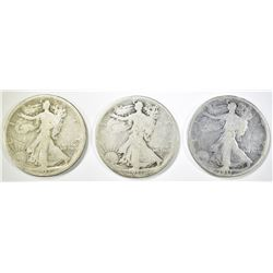 1917-P,D,S OBVERSE WALKING LIBERTY HALVES GOOD