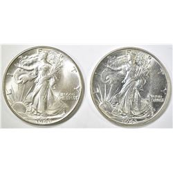 1943 & 46 WALKING LIBERTY HALF DOLLARS CH BU