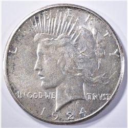 1924-S PEACE DOLLAR, CH BU