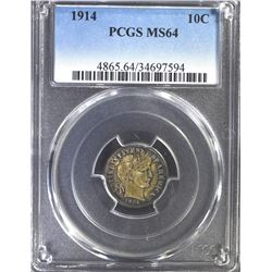 1914 BARBER DIME, PCGS MS-64