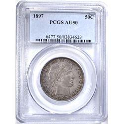 1897 BARBER HALF DOLLAR PCGS AU50