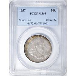 1957 FRANKLIN HALF DOLLAR PCGS MS-66