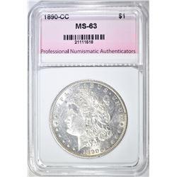 1890-CC MORGAN DOLLAR, PNA CH BU