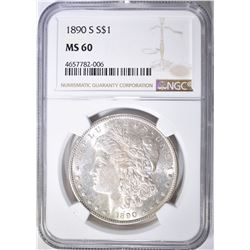 1890-S MORGAN DOLLAR, NGC MS-60