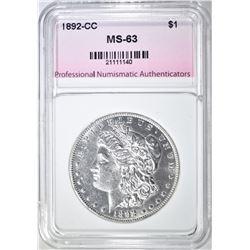 1892-CC MORGAN DOLLAR, PNA CH BU