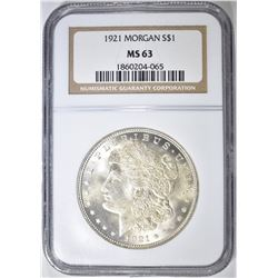 1921 MORGAN DOLLAR, NGC MS-63