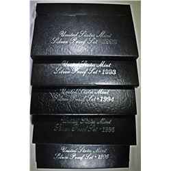 1992-1996 U.S. SILVER PROOF SETS IN ORIG PACKAGING