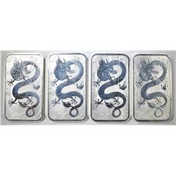 4-PERTH MINT ONE Oz SILVER RECTANGULAR COINS