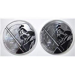 2-2018 NIUE DARTH VADER ONE OUNCE SILVER COINS