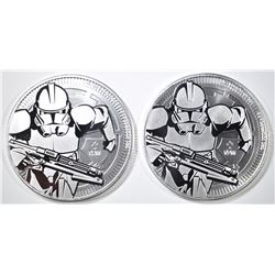 2-2019 NIUE CLONE TROOPER ONE OUNCE SILVER COINS