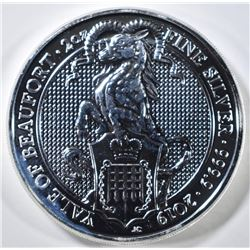 "2019 QUEENS BEAST 2-Oz SILVER ""YALE OF BEAUFORD"""
