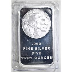 FIVE OUNCE .999 SILVER BAR INDIAN /BUFFALO DESIGN