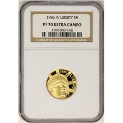 1986-W $5 Proof Liberty Commemorative Gold Coin NGC PF70 Ultra Cameo