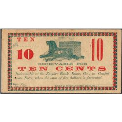 1862 Ten Cents Empire Bank Rome, GA Obsolete Note