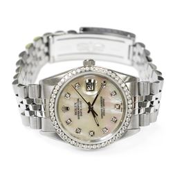 Rolex Datejust Stainless Steel 36mm MOP Diamond Dial Watch