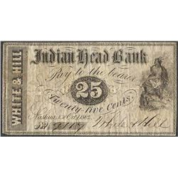October 1, 1862 25 Cent Indian Head Bank Obsolete Note