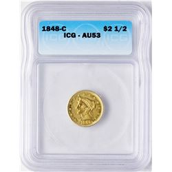 1848-C $2 1/2 Liberty Head Quarter Eagle Gold Coin ICG AU53