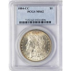 1884-CC $1 Morgan Silver Dollar Coin PCGS MS62