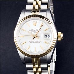 Rolex Ladies Two Tone 14K White Index Datejust Wristwatch With Rolex Box