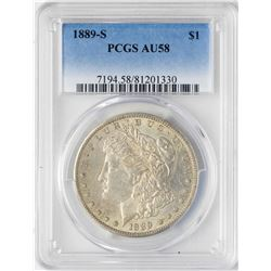 1889-S $1 Morgan Silver Dollar Coin PCGS AU58
