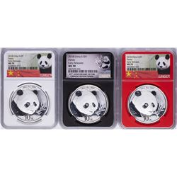 Lot of (3) 2018 China Panda Silver Coins NGC MS70 Early Releases
