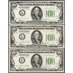 Lot of (3) 1934 $100 Federal Reserve Notes San Francisco