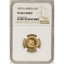 1975 South Africa 1 Rand Proof Gold Coin NGC PF68 Cameo