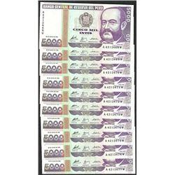 Lot of (10) 1988 Peru Cinco Mil Intis Uncirculated Bank Notes
