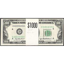 Original Strap of (10) 1950B $100 Federal Reserve Notes Cleveland