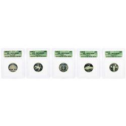 Set of (5) 1999-S Statehood Quarter Silver Coins ICG PR70 DCAM