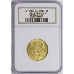 1810 Large Date $5 Classic Head Gold Coin NGC MS63 Large 5