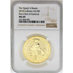 2018 Great Britain 100 Pounds The Queens Beasts Gold Coin NGC MS69