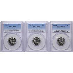Lot of (3) 1961-D Jefferson Nickel Coins PCGS MS65