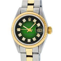 Rolex Ladies Two Tone 14K Green Vignette Diamond 26MM Datejust Watch