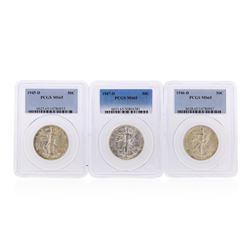 1945-D to 1947-D Walking Liberty Half Dollar Coins PCGS Graded MS65