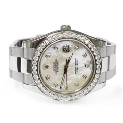 Rolex Mens Datejust II Stainless Steel 41mm Mother of Peral Diamond Dial Watch